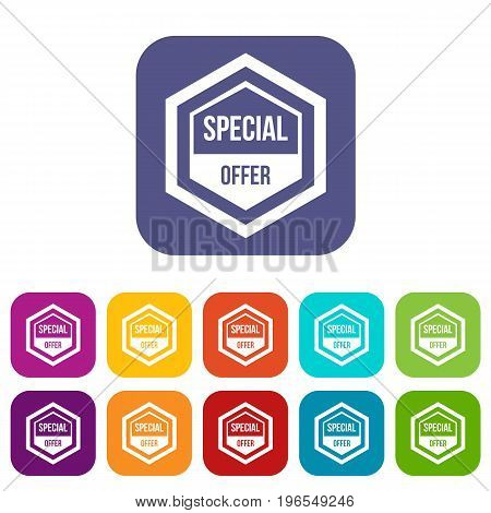 Special offer pentagon icons set vector illustration in flat style in colors red, blue, green, and other