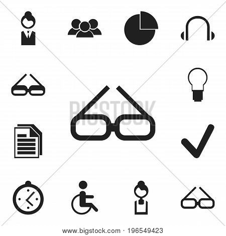 Set Of 12 Editable Office Icons. Includes Symbols Such As Spectacle, Businesswoman, Earphone And More