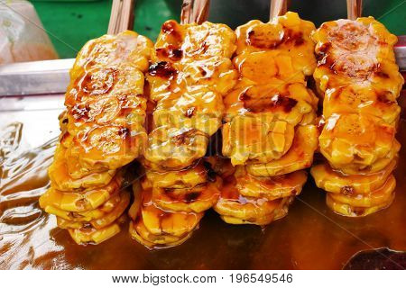 Grilled banana is delicious in the market