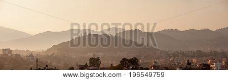 Panoramic view to Kathmandu city and Swayambhunath temple at the hill Napal