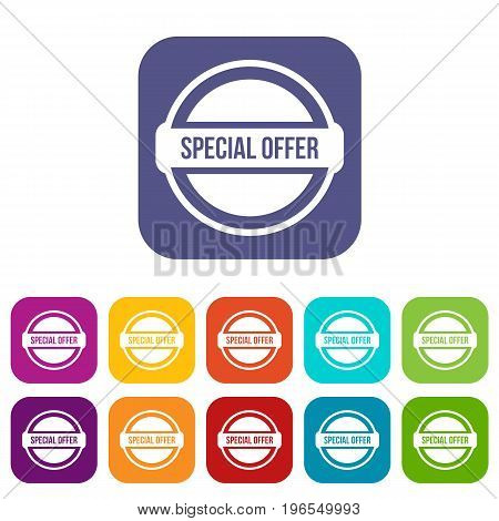 Special offer circle icons set vector illustration in flat style in colors red, blue, green, and other