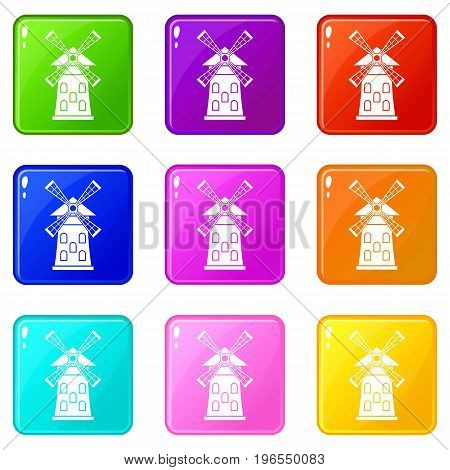 Windmill icons of 9 color set isolated vector illustration