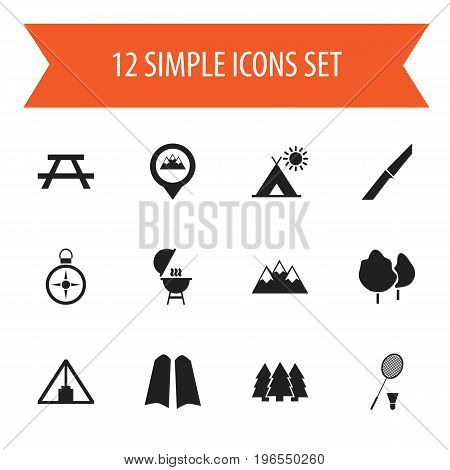 Set Of 12 Editable Camping Icons. Includes Symbols Such As Location, Orientation, Mountain And More