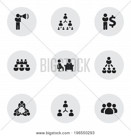 Set Of 9 Editable Business Icons. Includes Symbols Such As Group, Meeting, Finance Director And More