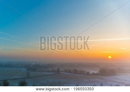 Misty Morning Light Over The Lanscape Near Nuremberg In Germany