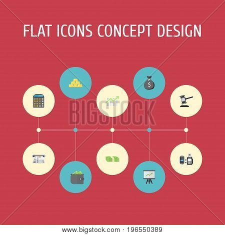 Flat Icons Accounting, Verdict, Billfold And Other Vector Elements
