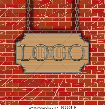 Tavern signboard template on brick wall background vector