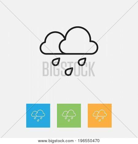 Vector Illustration Of Weather Symbol On Rain Outline