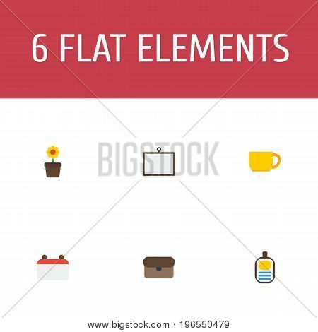 Flat Icons Identification, Tea, Date And Other Vector Elements