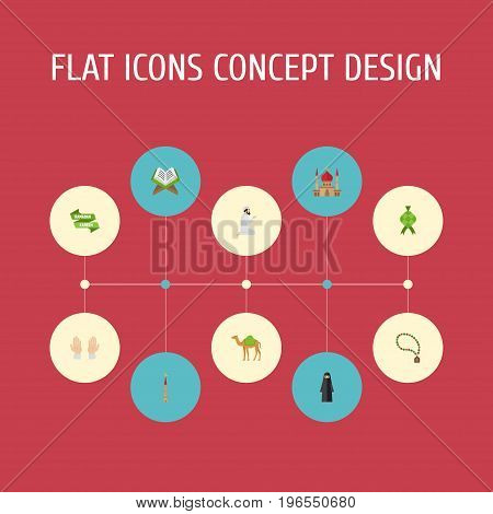 Flat Icons Minaret, Palm, Dromedary And Other Vector Elements