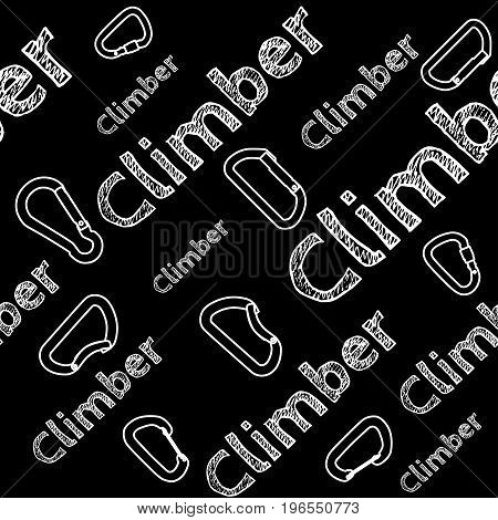 Kinesio tape horizontal seamless pattern or background. Climber chalky carabiner, sport textile fabric vector