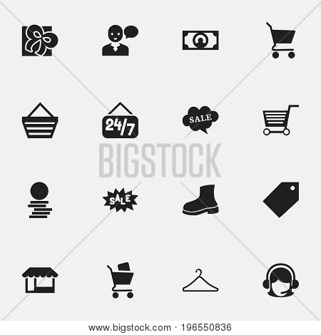 Set Of 16 Editable Trade Icons. Includes Symbols Such As Rebate, Cash, Trading Purse And More