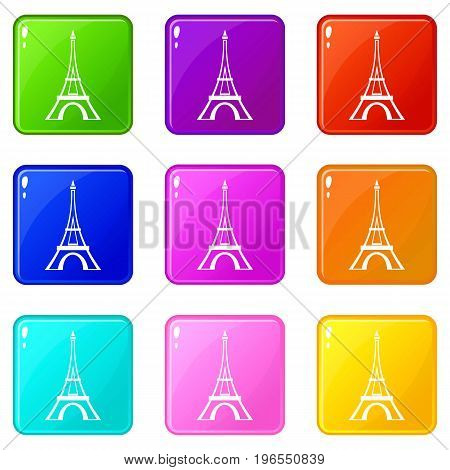 Eiffel tower icons of 9 color set isolated vector illustration