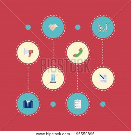 Set Of Job Flat Icons Symbols Also Includes Schedule, Contract, Office Objects. Flat Icons Handshake, Diagram, Contract Vector Elements.