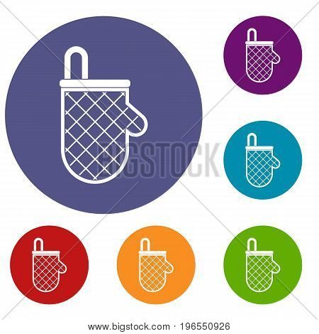 Kitchen protective glove icons set in flat circle red, blue and green color for web