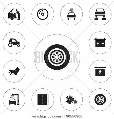 Set Of 12 Editable Vehicle Icons. Includes Symbols Such As Highway, Mechanic, Repair And More