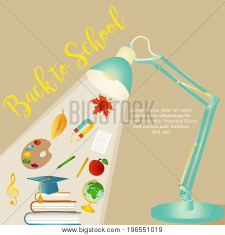 Back to school background with stationery and desk lamp