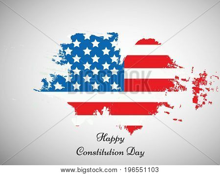 illustration of USA flag background with Happy Constitution Day text on the occasion of USA Constitution Day