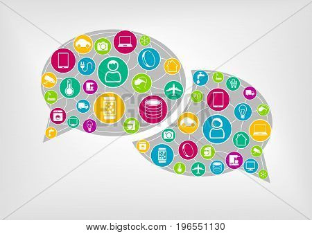 Speech bubble to represent wireless communication of connected devices.