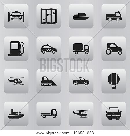 Set Of 16 Editable Shipment Icons. Includes Symbols Such As Washing Auto, Navigation, Airship And More