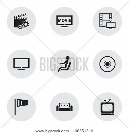 Set Of 9 Editable Cinema Icons. Includes Symbols Such As Monitor, Clapperboard, Couch And More
