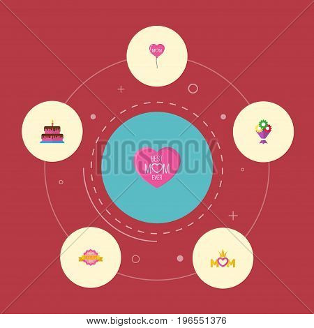 Happy Mother's Day Flat Icon Layout Design With Emotion, Queen And Flower Symbols