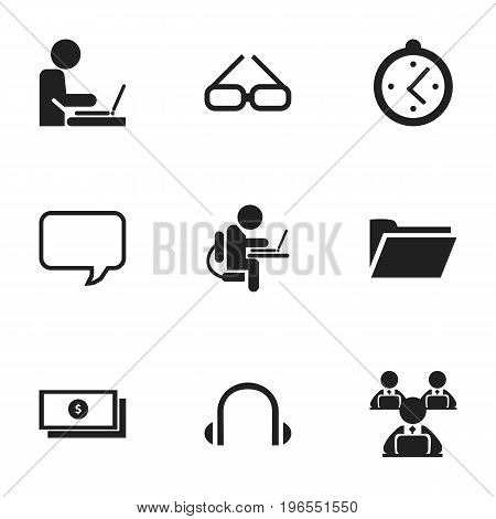 Set Of 9 Editable Office Icons. Includes Symbols Such As Message Bubble, Earphone, Spectacle And More