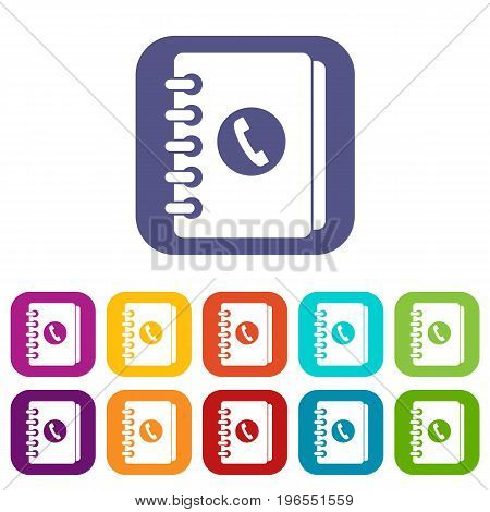 Address book icons set vector illustration in flat style in colors red, blue, green, and other