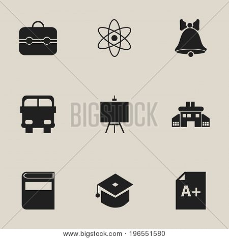 Set Of 9 Editable Knowledge Icons. Includes Symbols Such As Page, Transport Vehicle, Jingle And More