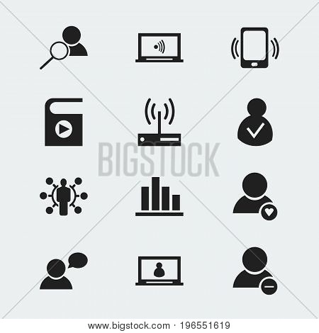 Set Of 12 Editable Internet Icons. Includes Symbols Such As Lovely Profile, Account, Skill And More
