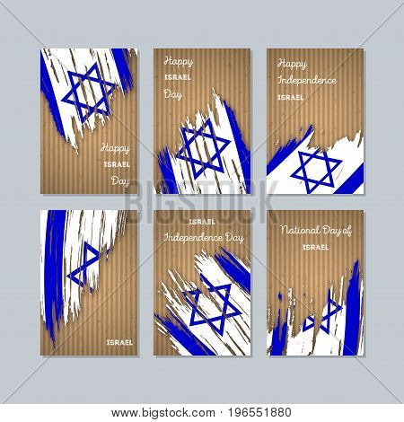 Israel Patriotic Cards For National Day. Expressive Brush Stroke In National Flag Colors On Kraft Pa
