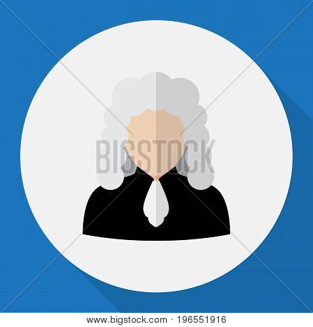 Vector Illustration Of Job Symbol On Judge Flat Icon