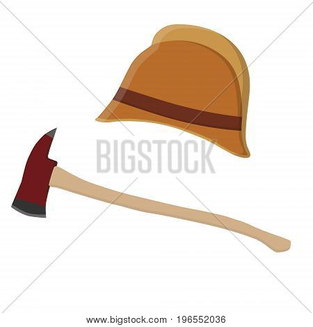 Vector illustration vintage retro antique fire helmet and red fire axe. Fireman uniform. Firefighter tool