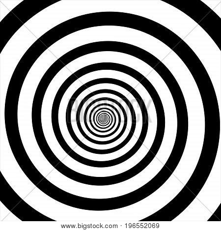 Vector illustration of psychedelic spiral with radial rays twirl twisted comic effect vortex backgrounds. Hypnotic spiral