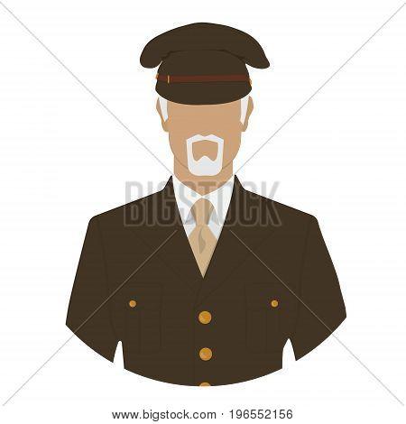 Vector illustration of veteran soldier commander major or general in military uniform avatar icon.