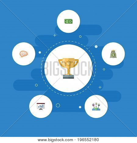 Flat Icons Mind, Administration, Show And Other Vector Elements
