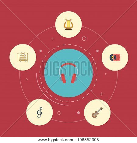 Flat Icons Quaver, Retro Disc, Musical Instrument And Other Vector Elements