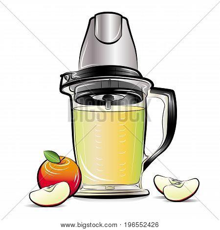 Drawing color kitchen blender with Apple juice. Vector illustration