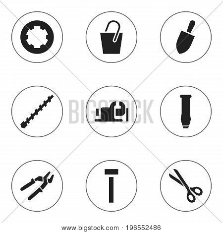 Set Of 9 Editable Equipment Icons. Includes Symbols Such As Press Instrument, Build Fastener, Bore And More