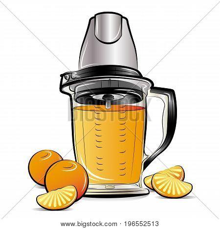 Drawing color kitchen blender with Orange juice. Vector illustration