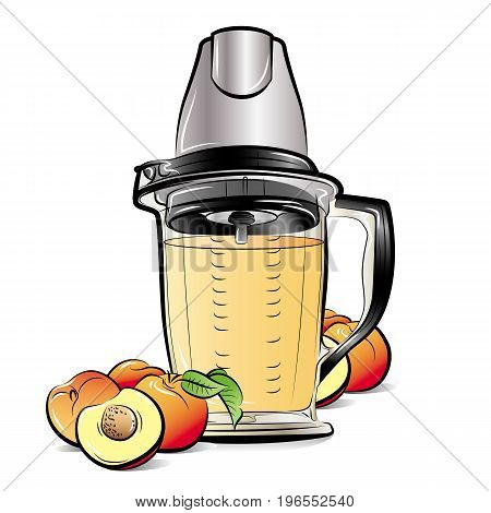 Drawing color kitchen blender with Peach juice. Vector illustration