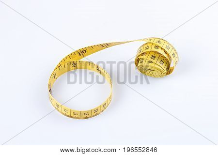 measure tape yellow isolated on white background