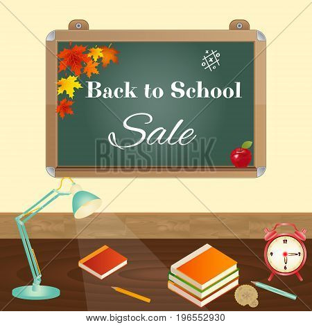 Back to School sale concept with blackboard, school items, desk lamp, text