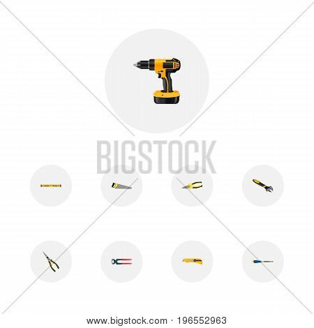 Realistic Electric Screwdriver, Plumb Ruler, Nippers And Other Vector Elements
