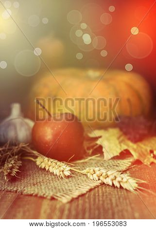 Autumn Dark Scene With Pumpkins, Red Apple, Garlic, Leaf, Straw On Wooden Table, Fall Background