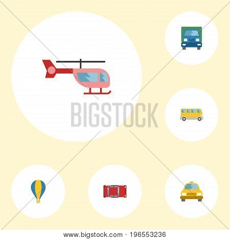 Flat Icons Cab, Automotive, Truck And Other Vector Elements