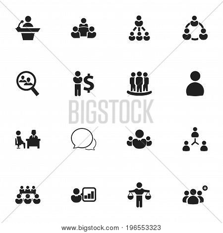 Set Of 16 Editable Business Icons. Includes Symbols Such As Partnership, Finding Solution, Conversation And More
