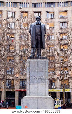 21 march 2009-belgrado-serbia-Statue of the scientist Tesla in the city of belgrade serbia