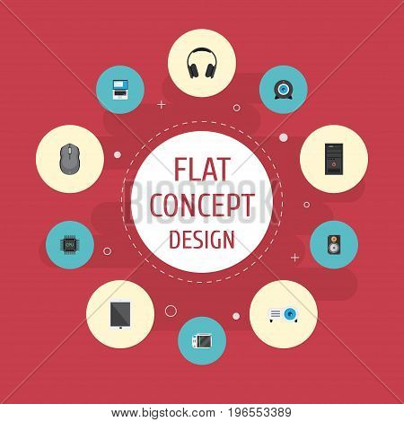 Flat Icons Slot Machine, Presentation, Web Cam And Other Vector Elements