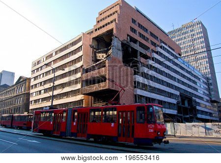 22 march 2009-belgrado-serbia-Palace bombed during the war reads the word